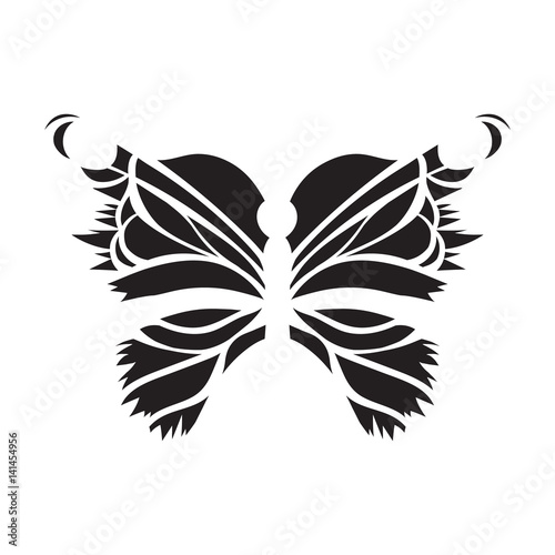 Vector, black butterfly on a white background. Laser cutting. wings, tattoo