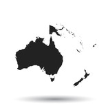 Australia and oceania map icon. Flat vector illustration. Australia sign symbol with shadow on white background. - 141460371
