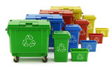 Set of colorful recycle trash containers, bins and crates - 141462175