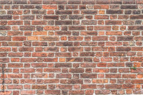 Foto op Canvas Baksteen muur Old red brick wall - Vecchio muro di mattoni rossi