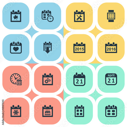 Vector Illustration Set Of Simple Date Icons. Elements History, 2016 Calendar, Deadline And Other Synonyms Event, Winter And Smart.