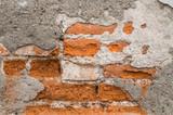 Red broken brick wall - Muro rotto di mattoni rossi