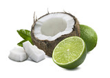 Coconut lime pieces leaf isolated on white background