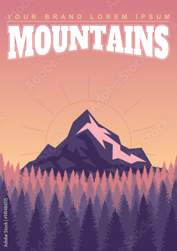 Deurstickers Aubergine Bright landscape of mountains and forests.
