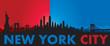 Blue Red New York City Skyline Vector