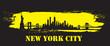 Yellow Brush Yellow New York City Skyline Vector