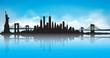 Blue Sky New York City Skyline Vector