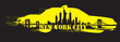 Yellow Cab New York City Skyline Vector