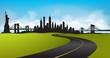 Green Landscape New York City Skyline Vector
