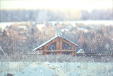 blurred background snow winter village small houses