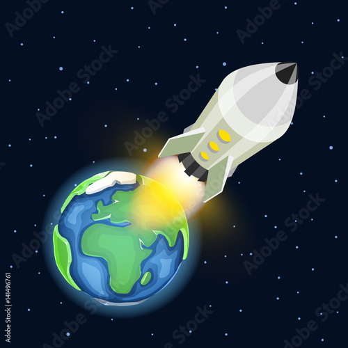 Foto op Aluminium Kosmos Space rocket launch. Startup creative idea, Vector illustration