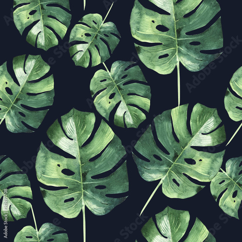Tropical Hawaii leaves palm tree pattern in a watercolor style isolated. - 141497708