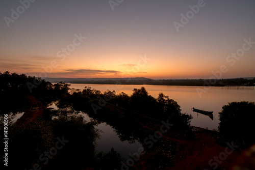 sunrise over the river in India