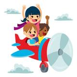 Cute little children flying on plane using imagination