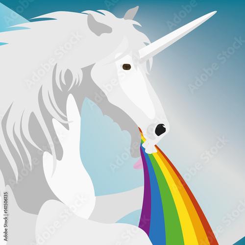 Poster Pony Illustration puking Unicorn