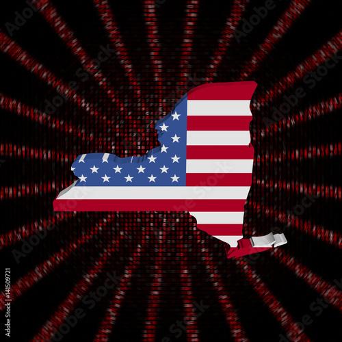 New York map flag on red hex code burst illustration