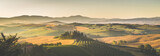 Scenic Tuscany landscape panorama at sunrise, Val d'Orcia, Italy