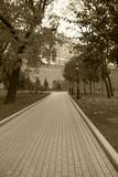 Moscow,Alexander Garden,sepia.
