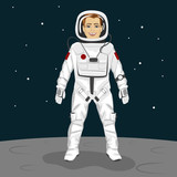 Young astronaut standing on the moon surface