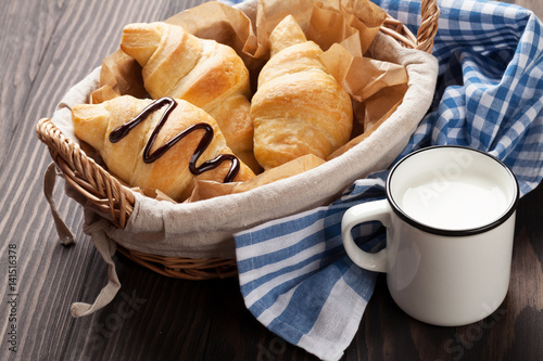 Fresh croissants basket and milk