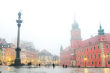 Smog in winter Warsaw old town. Foggy cold day of February 2017. Central square with royall palace, Sigismund's Column - 141521966