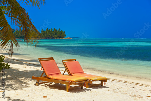 Sunbed on Maldives beach