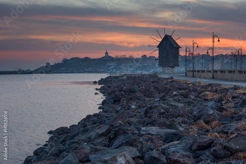 Plakat Old windmill in the ancient town of Nesebar in Bulgaria
