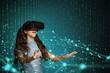 Young girl with virtual reality headset.