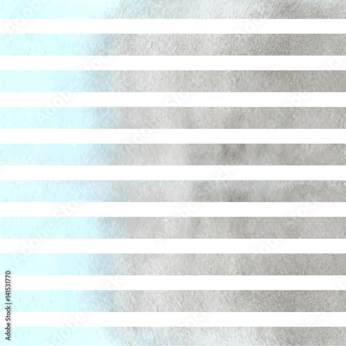 Light blue and grey watercolor stripes. Vector illustration - 141531770