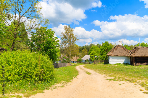 Rural road to Tokarnia village with straw roof houses on sunny spring day, Poland