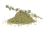 Dried thyme and thyme sprig isolated on white background - 141533319