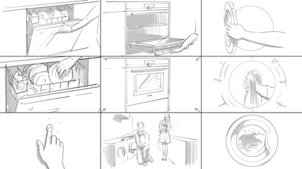 Storyboard with home appliances