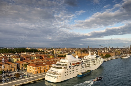 Venetian aerial view from the cruise ship which leaves the port of Venice (Venezia Terminal Passegeri Porto)