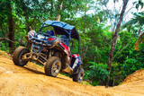 Extreme ride on ATV, buggies, jeeps. Journey through the jungle. Extreme quad biking, dune buggy, Jeep in the jungle, forest / ATV, UTV . in motion.  toned image - 141544523