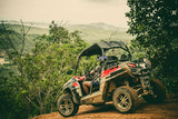 Extreme ride on ATV, buggies, jeeps. Journey through the jungle. Extreme quad biking, dune buggy, Jeep in the jungle, forest / ATV, UTV . in motion.  toned image - 141544567