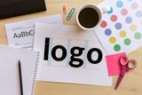 Creative graphic designer desk. Logo design concept. Flat lay - 141544725