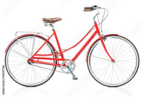 Stylish female red bicycle isolated on white