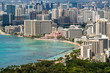 A stunning view of the skyscrapers in Waikiki, Oahu, Hawaii, from the Diamond Head crater.