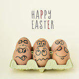 Fototapety eggs with funny faces and text happy easter
