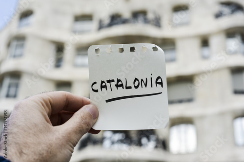 Poster word Catalonia in a note