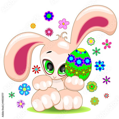 Easter Bunny with Egg Cute Cartoon Character