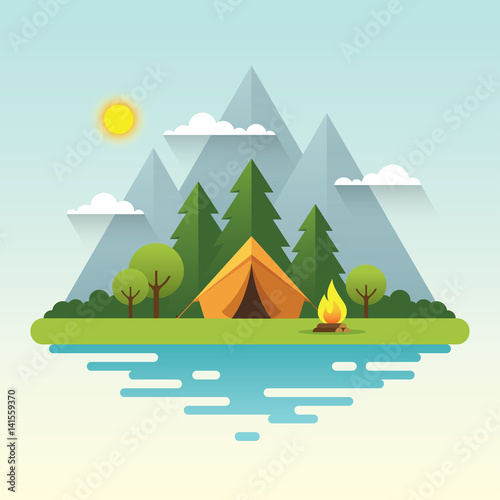 Fotobehang Lichtblauw Sunny day camping illustration in flat style