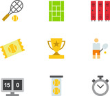 TENNIS colored flat icons pack