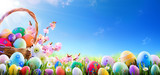 Fototapety Easter Eggs In Basket And On Meadow