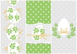 white eggs with green leaf motif vector Easter holiday card set on dotted background