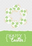 Happy Easter card with messy white eggs with green leaf motif, vector Easter card with egg wreath on light dotted background and wishes in English