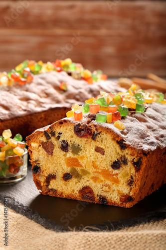 Homemade easter fruit cake with icing