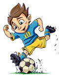 Fototapety Cartoon boy playing football