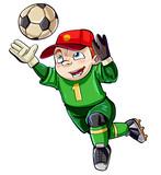 Cartoon boy keeping the goal safe - 141576307