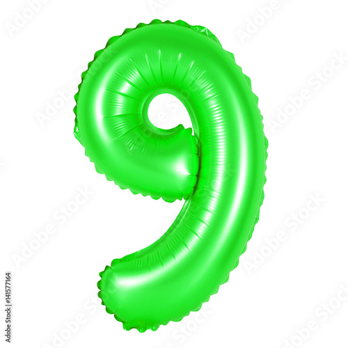 Poster number 9 (nine) from balloons (green)
